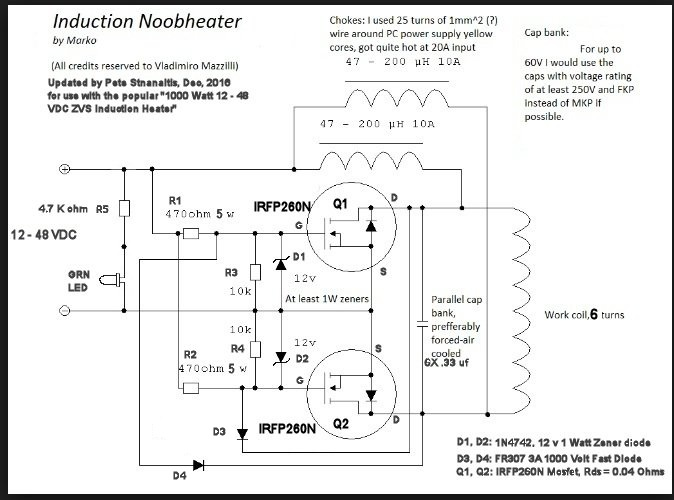 1000 watt zvs induction heater notes rh spaco org Royer Oscillator Induction Heater Induction Heater Circuit Diagram