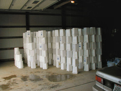 Stacks of Sap Pails that have been Cleaned and Rinsed