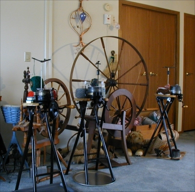 Sheri's current collection of Circular Sock Knitting Machines (CSM)